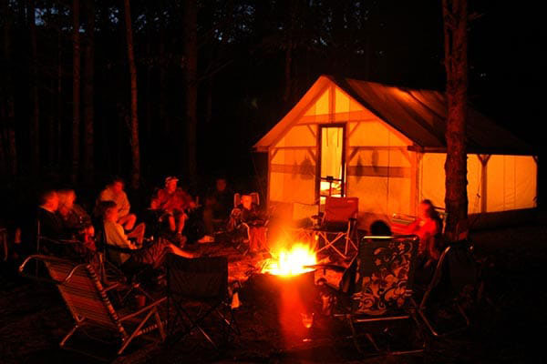 Kennebec River campground cabin tent
