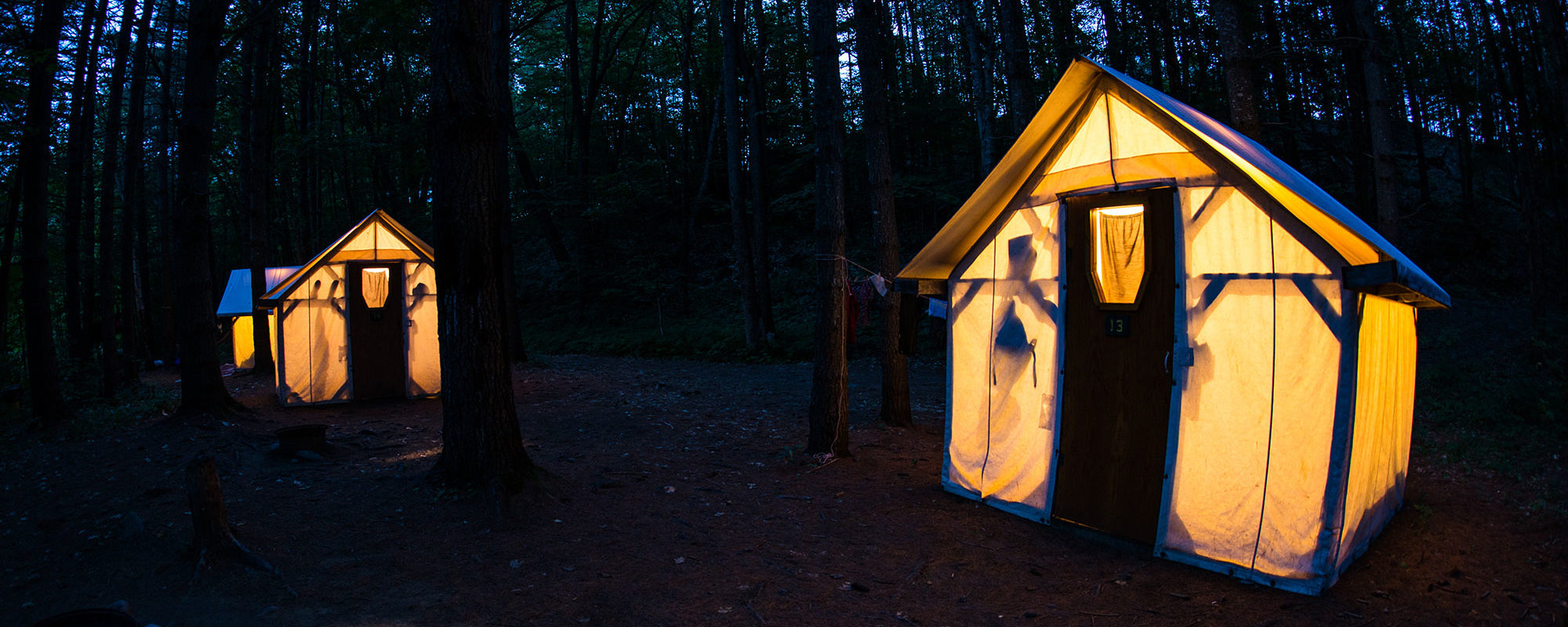 2-person Cabin tents at night
