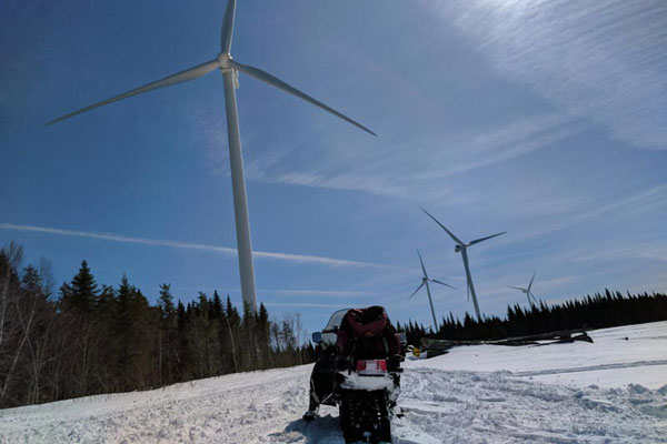 snowmobile windmill farm Bingham maine