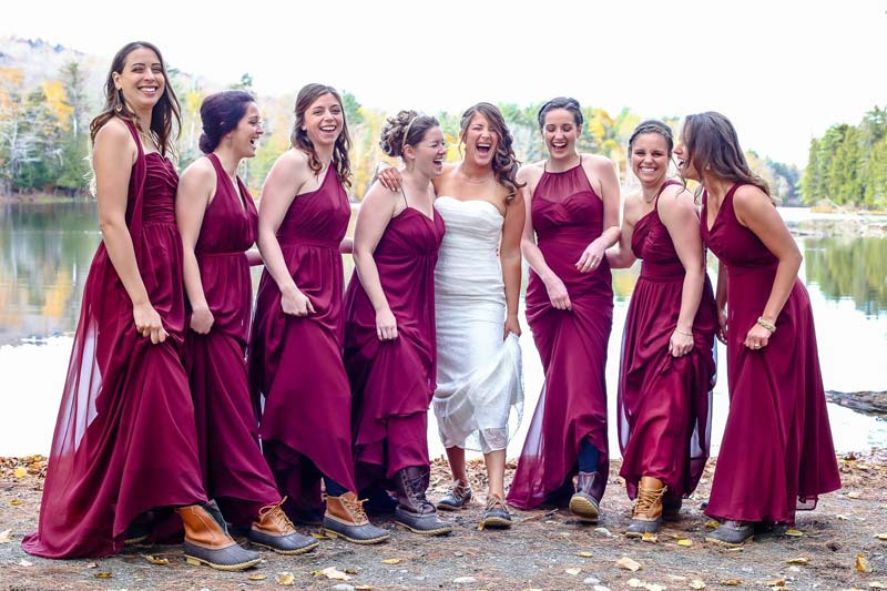 Maine wedding bridal party with LL Bean boots