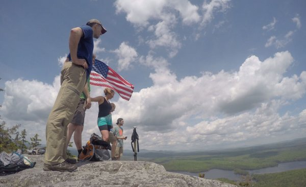 Group of people on top of Mosquito Mountain in Maine