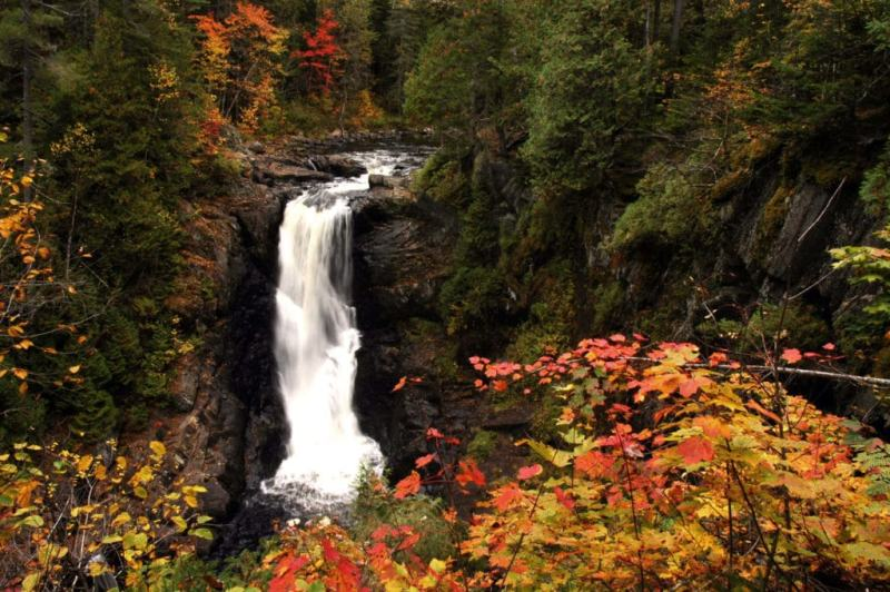 Moxie Falls is a great Maine waterfall hike in the fall