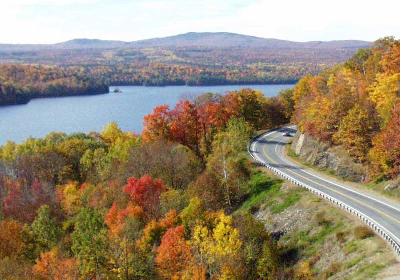 Fall foliage on scenic byway Route 201 in Maine makes the perfect destination wedding location!