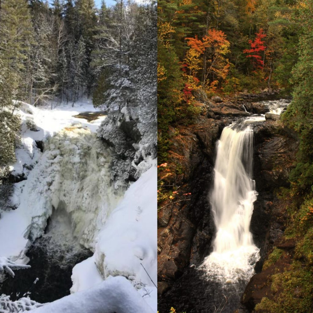 Moxie Falls in Winter and Fall