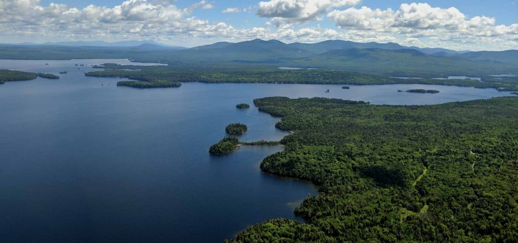 Maine Lakes and mountains from above
