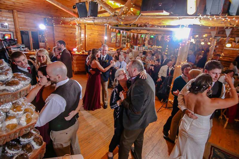 Rustic Maine wedding at Northern Outdoors - reception dancing