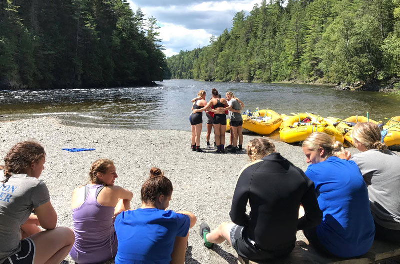 Wheaton College Women's Soccer Team - rafting for team building