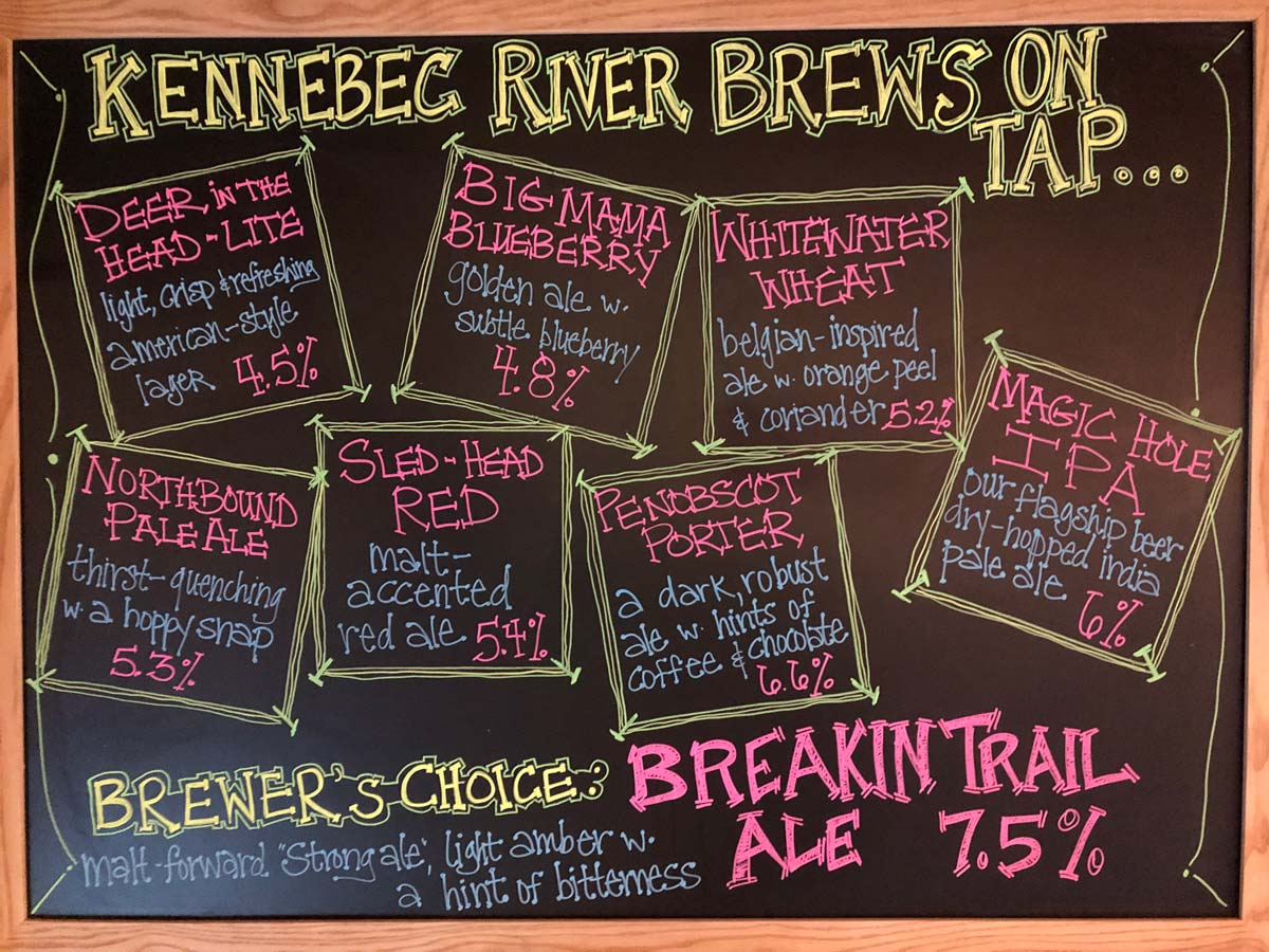 Beers on Tap at Maine's Only Brewery at an Adventure Resort