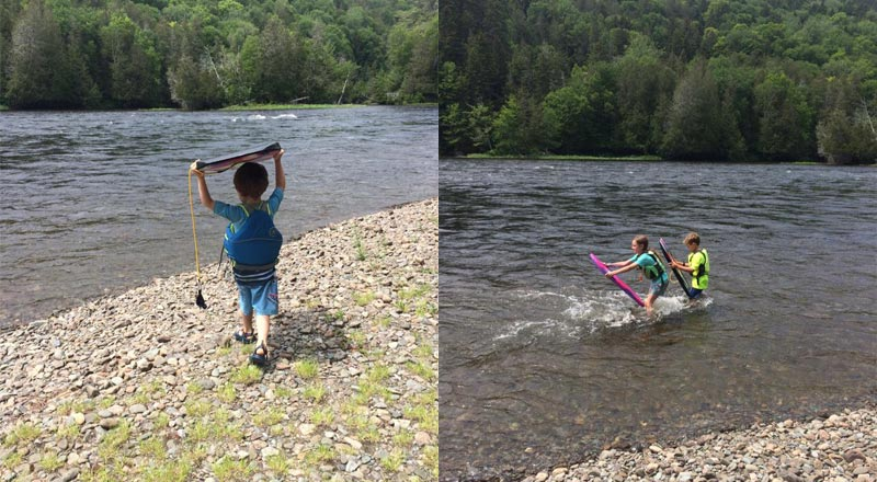 Family Reunion: Kids playing in the river
