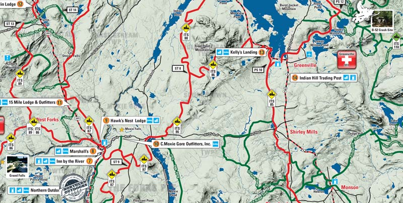 Maine Snowmobile Trail Map: The Forks to Greenville