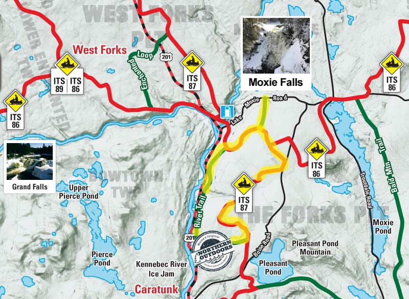 Snowmobile Trail Map - The Forks, Maine