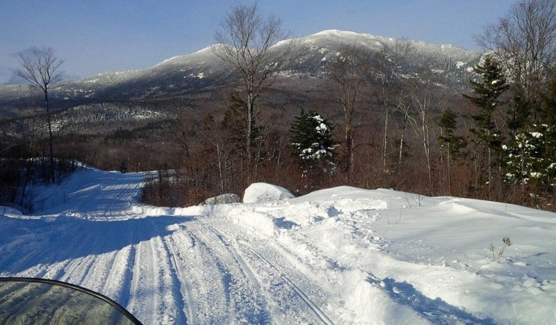 Snowmobile Trail by Bigelow Mountains, Maine