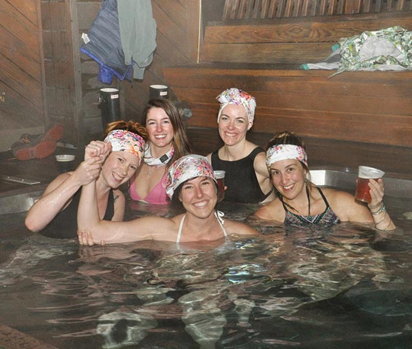 Bachelorette party at brewery hot tub