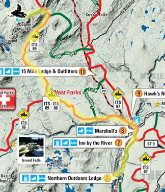 Snowmobile Trail Map from Northern Outdoors to Coburn Mountain