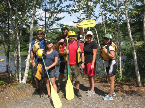 Friends rafting Kennebec river